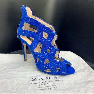 ZARA Basic Collection Blue Suede Heels Ankle High